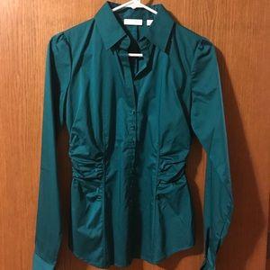 Button down blouse-teal, xs